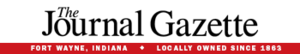 The Journal Gazette - The current nameplate. The Journal-Gazette previously used a square-serif typeface, rather than the black letter used by many newspapers.