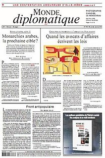 <i>Le Monde diplomatique</i> monthly newspaper offering analysis and opinion on politics, culture, and current affairs