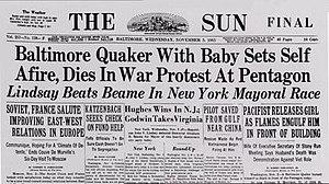 Norman Morrison - Newspaper - The Sun (Baltimore)