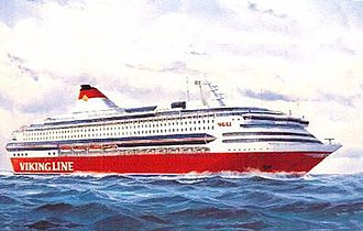MS Silja Europa - MS Europa as she would have appeared in Viking Line's colors. Advance painting from circa 1992.