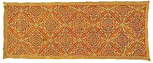 Running stitch - Embroidered Pilow Cover, Naxos, 17th-18th century. Silk embroidery on linen ground fabric. Embroidery: running stitch in alternate alignment.