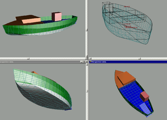 Phil Bolger - Isometric rendering of the hull shape of the composite plywood, fiberglass and foam 70 ft × 14 ft × 3 ft draft, 25 ton displacement, 160-200 hp, 10.5 knots, capable of being owner built. The Advanced Gloucester Fisherman Project boat.