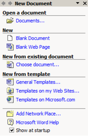 Microsoft Office XP - The Startup task pane in Word 2002.