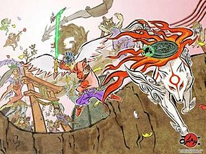 Ōkami - Promotional artwork for the game, showing the main characters. The foreground characters include the white wolf-goddess Amaterasu, the inch-high artist Issun, the mysterious swordsman Waka, and the warrior Susano.