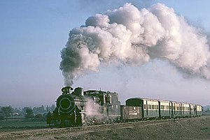 "Mianwali District - ""Days of Yore"" PR ZE. class 230 en route to Lakki Marwat from Mari Indus in frosty winter morning circa 1987. (Mianwali was the only district in Punjab with about 80 km of narrow gauge section, which was closed in 1992.)"