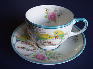 Paragon China - Cup and saucer commissioned to mark the birth of Princess Margaret