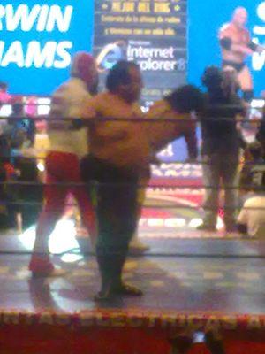 "Brazo de Plata - Alvarado in CMLL as ""Rotoporky"" Brazo de Plata."