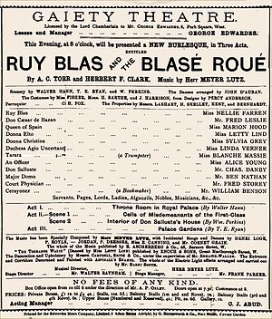 Ruy Blas and the Blasé Roué - Programme for the Gaiety production