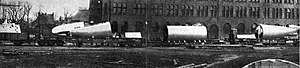 Sections of UB-13 on board railroad flatcars for transport to Antwerp in early 1915