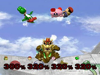 Super Smash Bros. Melee - Bowser, Ness, Kirby, and Yoshi fight in Sudden Death mode on the Corneria stage.