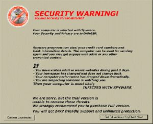 Scareware - Dialog from SpySheriff, designed to scare users into installing the rogue software