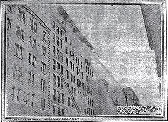 Triangle Shirtwaist Factory fire - The building's south side, with windows marked X from which 50 women jumped
