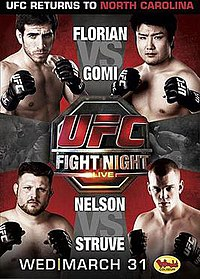 A poster or logo for UFC Fight Night: Florian vs. Gomi.