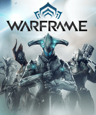 Warframe - Storefront artwork, featuring four of the game's various playable Warframes, including Excalibur, Ember, Loki, and Rhino respectively from left to right