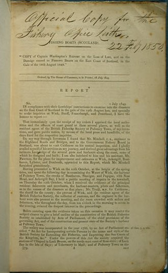 Moray Firth fishing disaster - The cover of Captain Washington's 1849 Report into the causes of the disaster.