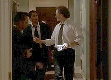 Sam Seaborn And Josh Lyman Converse In The Hallway In One Of The West Wingu0027s  Noted Tracking Shots.