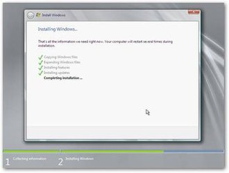 Windows Setup - Windows Setup installing Windows Server 2008 R2