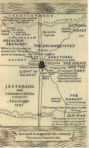 Yoknapatawpha County - Map drawn by William Faulkner for The Portable Faulkner (1946)
