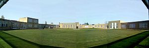 Bottisham Village College - The Wardens lawn with the new buildings on the right side of the main hall (straight ahead).
