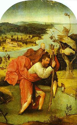 Saint Christopher - St. Christopher Carrying the Christ Child, by Hieronymus Bosch (c. 1485)