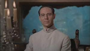 SPECTRE - Dr. No with his aquarium in the background.