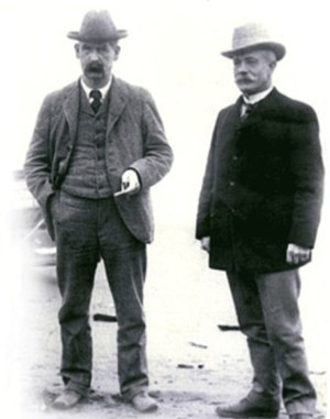 Fitzsimmons vs. Sharkey -  Wyatt Earp in about 1902 in  Nome, Alaska with long-time friend and former Tombstone mayor and editor John Clum.