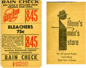 Filene's - Filene's ad on back of Red Sox ticket