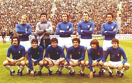 Italy's line up, before the match against France in a group stage game at the 1978 FIFA World Cup at Estadio Jose Maria Minella (Mar del Plata, Argentina - 2 June 1978) Italia v Francia Mondiale 1978.jpg