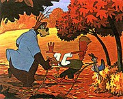 """Br'er Rabbit takes Br'er Fox and Br'er Bear to his """"laughing place."""""""