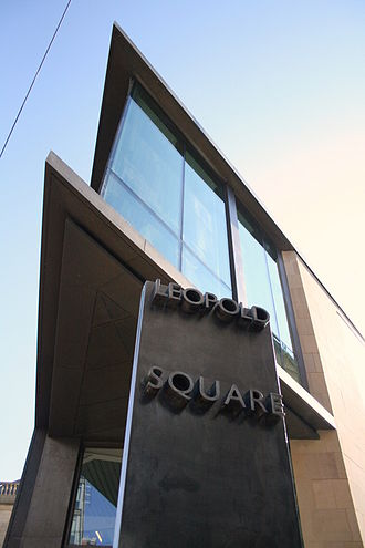 Leopold Square - New Building and Sign on West Street.