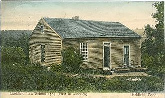 Litchfield Law School - 1784 Litchfield Law School building, adjacent to Reeve's home, pictured in a 1906 postcard