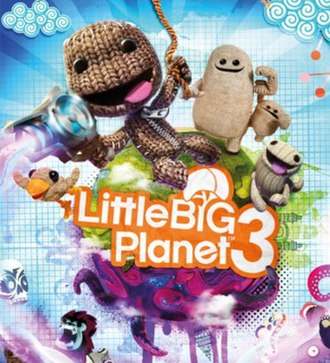 LittleBigPlanet 3 - Packaging artwork featuring the game's four protagonists. From left to right: Swoop, Sackboy, Big Toggle, Little Toggle and OddSock.