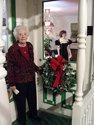 Margaret Dunning - Dunning stands next to the Plymouth Historical Museum exhibit named for her. The mannequin represents Margaret when she was 30.