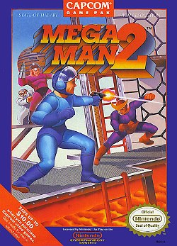 "Artwork of a navy blue, vertical rectangular box. The top portion reads ""Mega Man 2"", while the artwork depicts a humanoid figure in a blue outfit firing a gun at a second humanoid figure in purple and red outfit."
