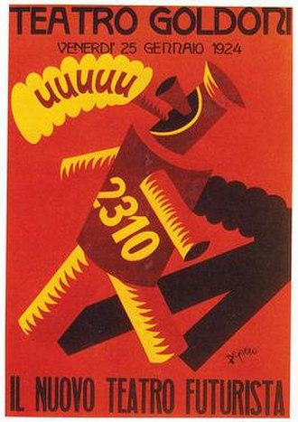 Fortunato Depero - New Futurist Theater poster, F. Depero, 1924.