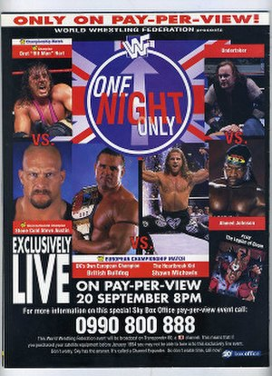 WWF One Night Only - Promotional poster featuring The British Bulldog, Shawn Michaels, Vader, Owen Hart, The Legion of Doom, and The Godwinns
