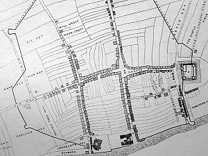 Liverpool - A map of Liverpool's original seven streets (north to the left).