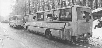 Plitvice Lakes incident - Croatian police convoy after the ambush at the Plitvice Lakes, 31 March 1991