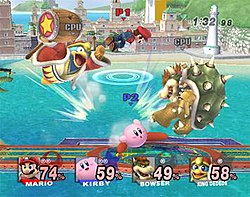 A fighting match between Mario, Kirby, Bowser, and King Dedede. The damage meter now displays the name, image, and series symbol of the character.