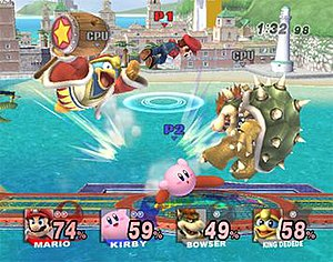 Super Smash Bros. Brawl - A match between Mario, Kirby, Bowser and King Dedede. The damage meter now displays the name, image and series symbol of the character.