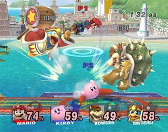 Super Smash Bros. Brawl - A match between Mario, Kirby, Bowser and King Dedede. The damage meter now displays the name of the character as well as an image of them.