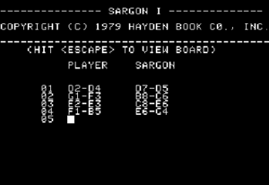 Sargon (chess) - The notation screen from Sargon I
