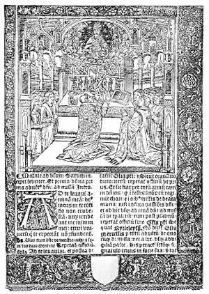 Sarum Rite - A page from a Sarum missal. The woodcut shows an altar shortly before the English Reformation.