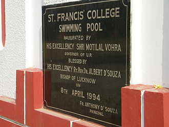 St. Francis' College - The college swimming pool inaugural stone