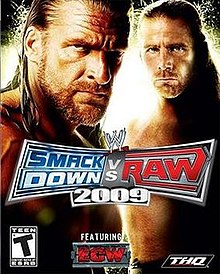Triple H and Shawn Michaels look towards the viewer. The game's logo appears in the middle as well as the ECW logo.