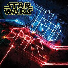 "The Star Wars logo on the top left, along with flashing red and blue lights displaying ""Headspace"""
