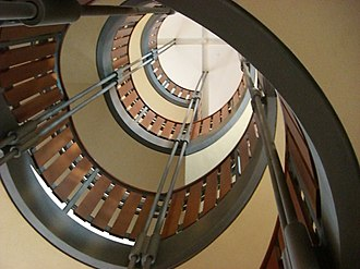 Joseph S. Stauffer Library - One portion of Stauffer Library's interior helical staircase