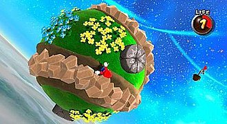 Super Mario Galaxy - Mario running across a planetoid. The game's gravity mechanics allow Mario to fully circumnavigate round or irregular objects.