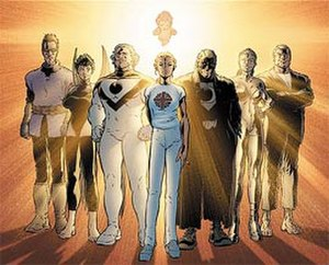 The Authority - The Authority, as featured on the cover for the Under New Management trade paperback (Nov. 2000). From left to right, the Doctor, Swift, Apollo, Jenny Sparks, Midnighter, the Engineer, and Jack Hawksmoor, with the infant Jenny Quantum at the back. Art by Frank Quitely.