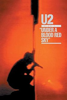 "A red background encompasses most of the shot. In the lower left corner is a shadowy silhouette from the side of a man crouching down, holding a microphone to his mouth and a flag into the air. Written in grey text in the upper right corner are the words ""U2 – Live at Red Rocks: Under a Blood Red Sky""."